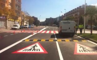 Instalación de reductores de velocidad Ecobam RDV en la N-II, Sant Andreu de la Barca