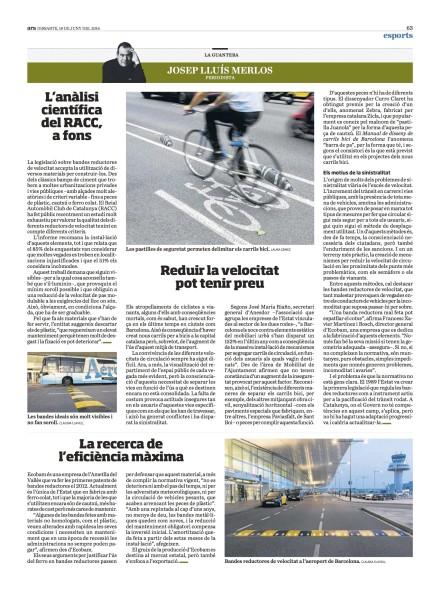 Artículo diario ARA sobre bandas redcutoras velocidad